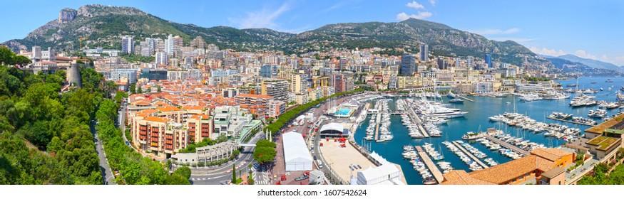 Monte Carlo, Monaco Panoramic Cityscape, harbor and Marina Aerial View