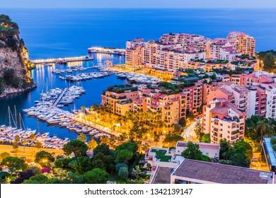 Monte Carlo, Monaco. Panoramic view of Port de Fontvieille.