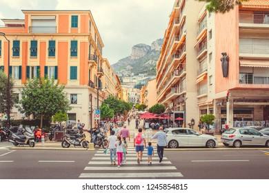 Monte Carlo, Monaco - September 24, 2018: Pedestrianized street Rue Princesse Caroline