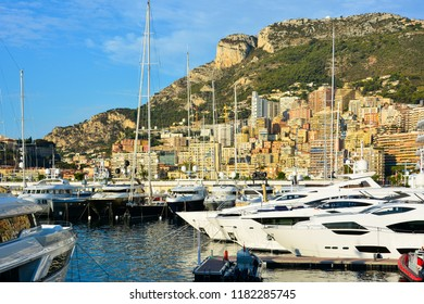 Monte Carlo / Monaco — September 27, 2016: morning view of Port Hercules (Hercule) of Monaco with luxury yachts and boats. Monaco is a small principality located on the Cote d'Azur (French Riviera)