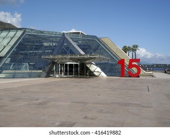 MONTE CARLO, MONACO-OCT. 15: Grimaldi Forum Conference and Congress Centre located on the seafront of Monaco in Monte Carlo, Europe, is seen on October 15, 2015.