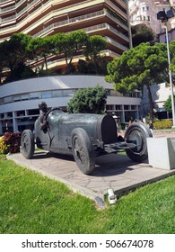 MONTE CARLO, MONACO-SEPT. 22: A sculpture of race car and driver commemorating the Grand Prix is seen in Monte Carlo, Monaco on September 22, 2016.