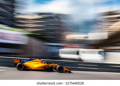 Monte Carlo/Monaco - 05/24/2018 - World champion #14 Fernando Alonso (SPA) in his papaya orange McLaren-Renault MCL33 during the opening day of running ahead of the 2018 Monaco Grand Prix