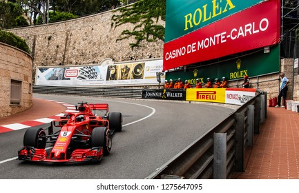 Monte Carlo/Monaco - 05/24/2018 - World champion #5 Sebastian Vettel (GER) in his Ferrari SF71H during the opening practice ahead of the 2018 Monaco Grand Prix
