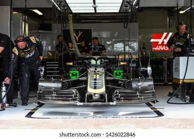 Monte Carlo/Monaco - 25/02/2019 - #8 Romain GROSJEAN's Haas VF 19 in the garage before the start of free practice ahead of the 2019 Monaco GP