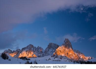 Monte Cimon of Pala and Pale di San Martino