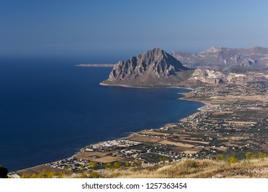 Monte Cofano (Mount Cofano) as seen from Mount Erice. Sicily, Italy