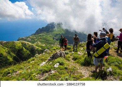 MONTE FAITO, ITALY - JUNE 14, 2020: Monte Faito is a mountain in the Monti Lattari on the Sorrentine Peninsula of southwestern Italy. The trekking route shows the blue sea and the green mountains
