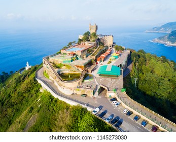 Monte Igueldo Tower, viewpoint and Amusement Park on the Monte Igueldo mountain in San Sebastian or Donostia city in Spain