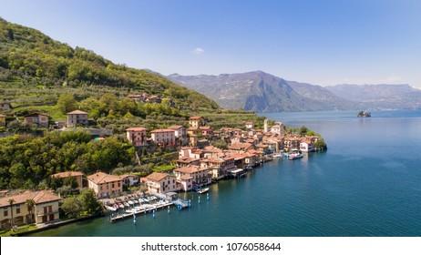 Monte Isola, Iseo Lake. Village of Carzano. Aerial photo