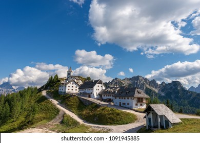 Monte Lussari village in the Italian Alps. Tarvisio, Friuli Venezia Giuli, Italy, Europe
