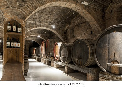 MONTE OLIVETO, TUSCANY-ITALY, OCTOBER 31, 2016: Wine cellar in the Abbey of Monte Oliveto Maggiore is a large Benedictine monastery in the Italian region of Tuscany near Siena.