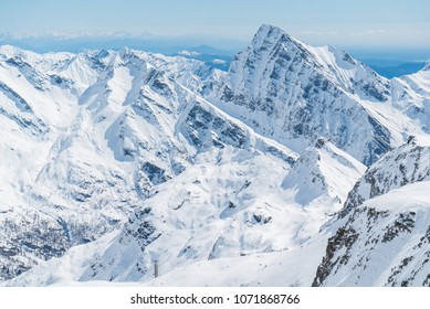 Monte Rosa with glacier, at Alagna Valsesia. Gressoney. Aosta. Italy. Monterosa massiv mountains from the swiss side. Mighty glacier mountains. Monterosa ski region. Big Mountains landscape