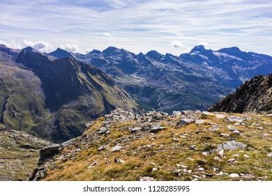 Monte Rosa Massif, Aosta Valley, Italy. Mountain landscape at Colle della Bettaforca (2,727 m - 8,950 ft). In the background, Corno Bianco (White Horn).