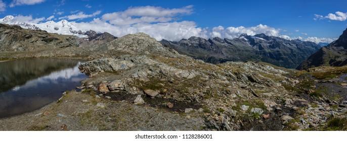 Monte Rosa Massif, Aosta Valley, Italy. Mountain landscape from Colle della Bettaforca.