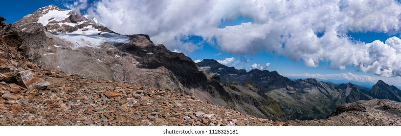 Monte Rosa Massif, Aosta Valley, Italy. Climbing to Stolemberg (3,202 m), mountain landscape.