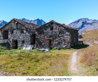 Monte Rosa Massif, Aosta Valley, Italy. Abandoned mountain huts near Lake Gabiet (Gressoney Valley).