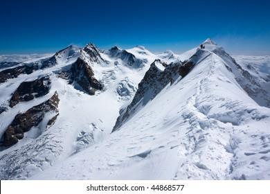 monte rosa panorama from lyskamm mountain