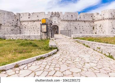 Monte Sant'Angelo, apulia, Italy, 01 June 2017. View castle in Monte Sant'Angelo town, in Apulia region, Italy.