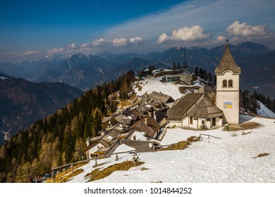Monte Santo di Lussari, Tarvisio, Italy -  november 2017: majestic panoramic view of small ancient village on the top of Monte Lussari  in Tarvisio, Friuli-Venezia Giulia, Italy