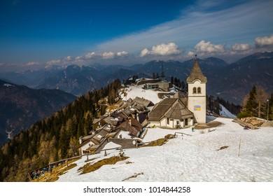 Monte Santo di Lussari, Tarvisio, Italy -  november 2017: majestic panoramic view of small ancient village on the top of Monte Lussari  in Tarvisio, Friuli-Venezia Giulia, Italy