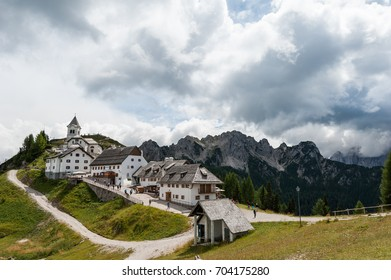 Monte Santo di Lussari - Tarvisio Italy - August 12 2017 : Panoramic view of the ancient village of Monte Lussari (1790 m) in the Italian Alps. Tarvisio, Friuli Venezia Giulia, Italy