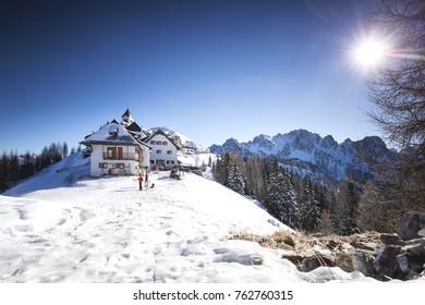 Monte Santo di Lussari - Tarvisio Italy , Village of Monte Lussari (1790 m) in the Italian Alps. Tarvisio, Friuli Venezia Giulia, Italy