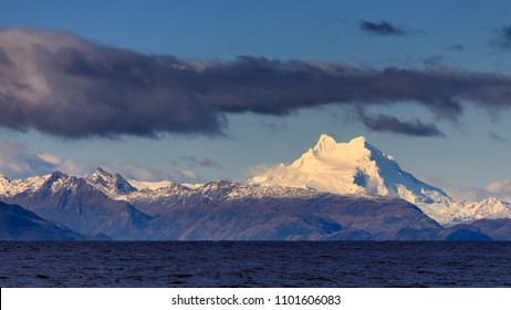 Monte Sarmiento as seen from the Strait of Magellan, Patagonia, Chile