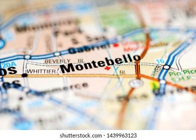 Montebello. California. USA on a geography map