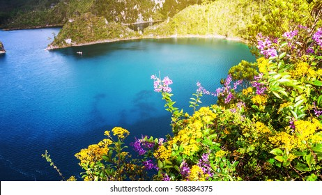 Montebello lakes of National Park in Chiapas, Mexico. Lagoons are famous for their striking colors, they attract many tourists for swimming and kayaking