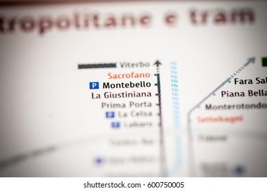 Montebello Station. Rome Metro map.