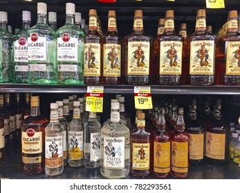 MONTEBELLO/CALIFORNIA - DEC. 23, 2017: Rows of alcoholic beverages stacked on shelves in a local supermarket. Montebello. California USA