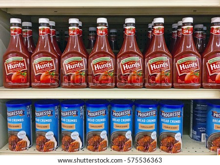 MONTEBELLO/CALIFORNIA - FEB. 5, 2017: Bottled Ketchup stacked on shelving in a local supermarket. Montebello, California USA