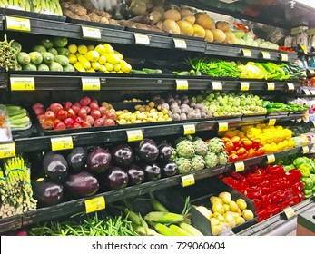 MONTEBELLO/CALIFORNIA - SEPT. 21, 2017: Produce department shelving with neatly organized fresh vegetables in a local supermarket. Montebello, California USA