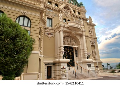 Monte-Carlo, Monaco / Monaco - 09 06 2019: Incredible view of the Monaco Opera House with pink sky and clouds, old historical culture building in Monte-Carlo city
