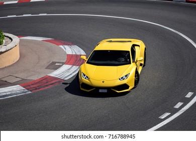 Monte-Carlo, Monaco - 12.08.17: yellow Lamborghini Huracan on one of the streets in Monte-Carlo. Supercars like this Lamborghini are very common in Monaco.