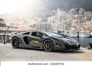 Monte-Carlo, Monaco 18 November 2018, HAMANN Tuning For the LAMBORGHINI  Aventador Limited Carbon edition at background Monaco city