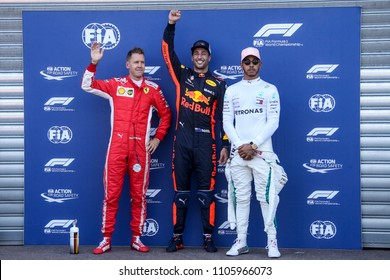 Monte-Carlo, Monaco. 27/05/2018. Grand Prix of Monaco. F1 World Championship 2018. The poleman, Daniel Ricciardo, Red Bull, with Sebastian Vettel and Lewis Hamilton.