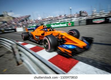 Monte-Carlo, Monaco. 27/05/2018. Grand Prix of Monaco. F1 World Championship 2018. Fernando Alonso, Mclaren Renault.
