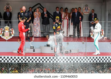 Monte-Carlo, Monaco. 27/05/2018. Grand Prix of Monaco. F1 World Championship 2018. Daniel Ricciardo, Red Bull, celebrating the victory.