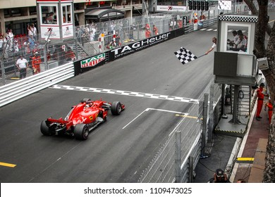 Monte-Carlo, Monaco. 27/05/2018. Grand Prix of Monaco. F1 World Championship 2018. Sebastian Vettel, Ferrari, crossing the finish line in second place.