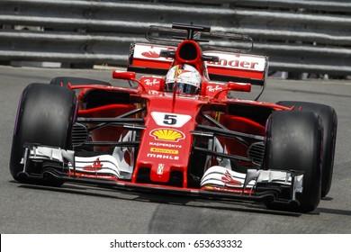 Montecarlo, Monaco. 28 May 2017. F1 Grand Prix of Monaco. The GP winner, Sebastian Vettel, driving his Ferrari.