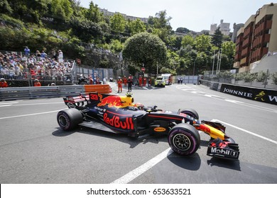 Montecarlo, Monaco. 28 May 2017. F1 Grand Prix of Monaco. Max Verstappen, driving his Red Bull.