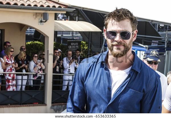 Montecarlo, Monaco. 28 May 2017. F1 Grand Prix of Monaco. Chris Hemsworth, actor, guest at the GP.