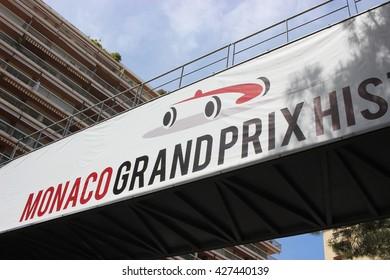 Monte-Carlo, Monaco - April 28, 2016: Red and White Monaco Grand Prix Historique Signboard in Monte-Carlo, Monaco