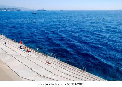 Monte-Carlo, Monaco, France - September 25, 2009: Azure coast of the Principality of Monaco