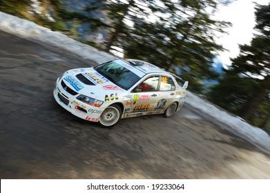 MONTECARLO (MONACO) - JANUARY 27 2008 - M. Bauduin on Mitsubishi Lancer Evolution racing at Rally of Montecarlo January 21, 2008 in Montecarlo (Monaco)
