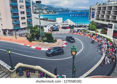 Monte-Carlo, Monaco - July 2, 2018. The famous Casino turn in Monaco where goes the Formula One circuit. Traffic on the ordinary day in Monaco.