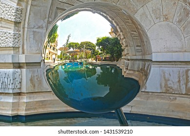 Monte-Carlo, Monaco - June 13, 2014: square near the opera house and casino, mirror ball
