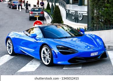 Monte-Carlo, Monaco - March 12, 2019: Blue supercar McLaren 720S in the city street.